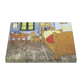 Vintage The Bedroom 1889 3D Wrapped Canvas Canvas Print