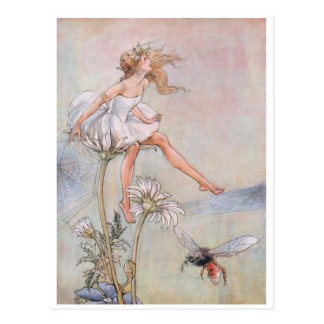 Vintage The Bees Knees Fairy Postcard