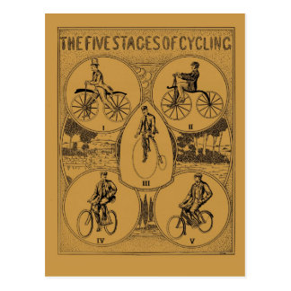 Vintage The Five Stages of Cycling Postcard