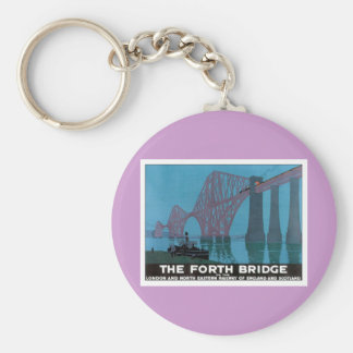 Vintage The Forth Bridge Basic Round Button Key Ring