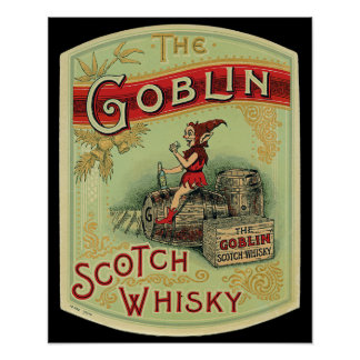 "Vintage  ""The Goblin "" Scotch Whiskey Label Poster"