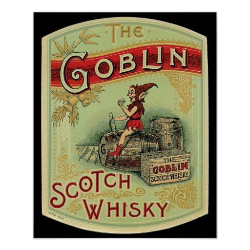 "Vintage  ""The Goblin "" Scotch Whiskey Label Print"