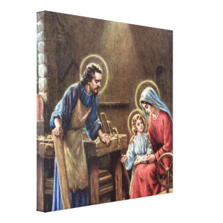 vintage the holy family, Jesus christ, Josef,Mary, Gallery Wrapped Canvas