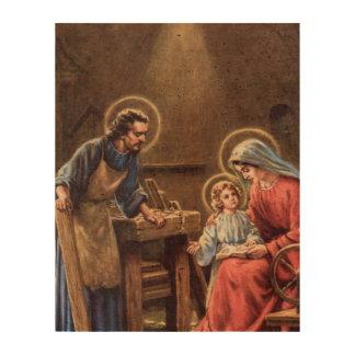 vintage the holy family, Jesus christ, Josef,Mary, Cork Paper Print