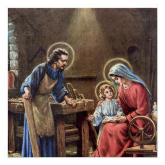 vintage the holy family, Jesus christ, Josef,Mary, Perfect Poster