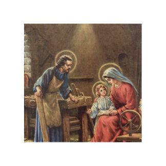 vintage the holy family, Jesus christ, Josef,Mary, Wood Canvas