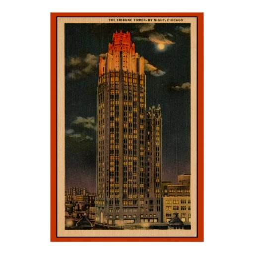 Vintage The Tribune Tower By Night Chicago Poster