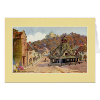 Vintage The Yarn Market Dunster watercolour art Card