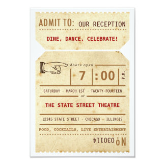 Vintage Theater Ticket Reception Insert Card 9 Cm X 13 Cm Invitation Card