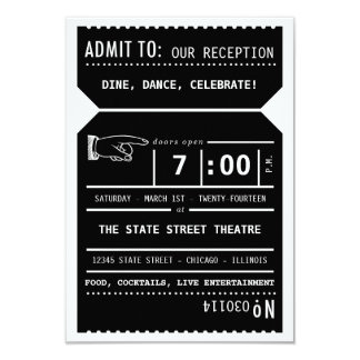 Vintage Theater Ticket Reception Insert in Black Card