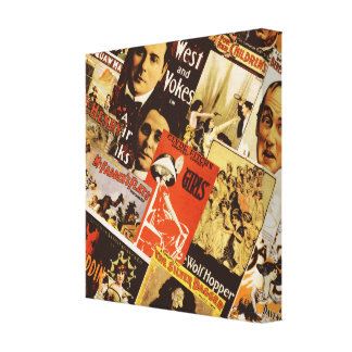 Vintage theatre poster collage canvas print