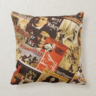 Vintage theatre poster collage Throw Pillow