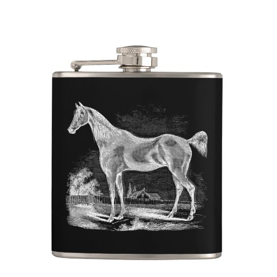 Vintage Thoroughbred Horse Equestrian Personalised Hip Flask