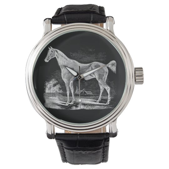 Vintage Thoroughbred Horse Equestrian Personalised Wrist Watch