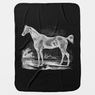Vintage Thoroughbred Horse Equestrian Personalized Baby Blanket