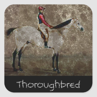 Vintage Thoroughbred Race Horse Square Sticker
