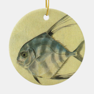 Vintage Threadfin Trevally, African Pompano Fish Round Ceramic Decoration