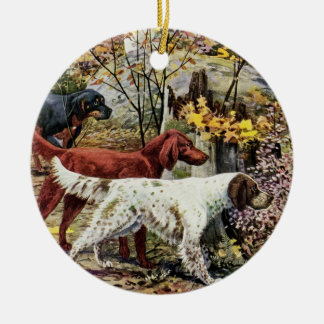 Vintage Three Irish Setters Christmas Ornament