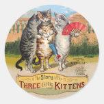 Vintage Three Little Kittens Lost Mittens Round Stickers