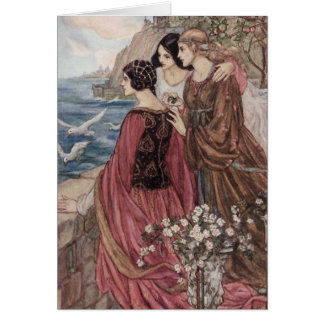 Vintage - Three Women Looking Out to Sea, Card