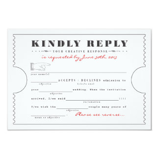 Vintage Ticket Libs Response Card 9 Cm X 13 Cm Invitation Card