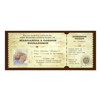 vintage ticket photo anniversary invitations