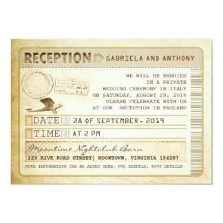 vintage ticket reception 11 cm x 16 cm invitation card