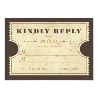 Vintage Ticket RSVP 9 Cm X 13 Cm Invitation Card