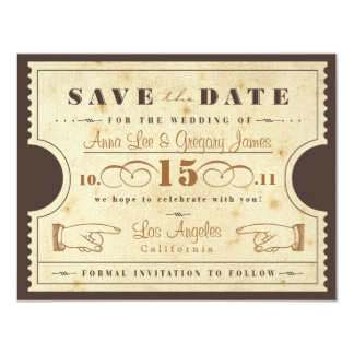 Vintage Ticket Save the Date 11 Cm X 14 Cm Invitation Card
