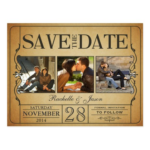 Vintage Ticket Save the Date -- 3 images 2.0 Post Cards