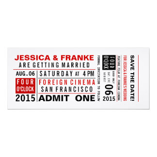 Vintage Ticket Save the Date or Invitation