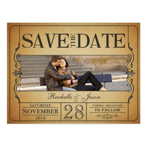 Vintage Ticket Save the Date Postcard