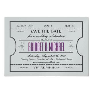 Vintage Ticket Save The Date Wedding 9 Cm X 13 Cm Invitation Card