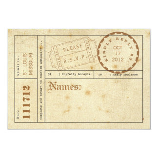 Vintage Ticket Tab Response Card 9 Cm X 13 Cm Invitation Card