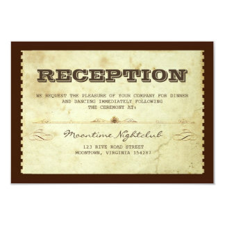 vintage ticket wedding reception design 3.5x5 paper invitation card