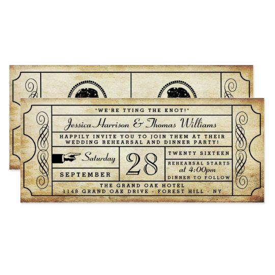 Vintage Ticket Wedding Rehearsal Dinner Invitation