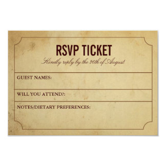 Vintage Ticket Wedding Response Card 9 Cm X 13 Cm Invitation Card