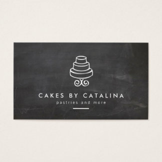 Vintage Tiered Cake Design on Chalkboard Bakery Business Card