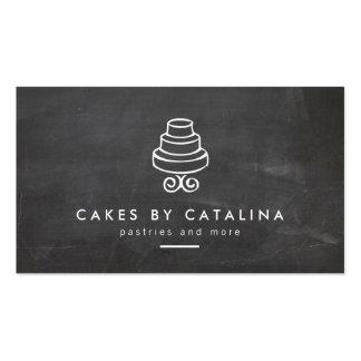 Vintage Tiered Cake Design on Chalkboard Bakery Pack Of Standard Business Cards