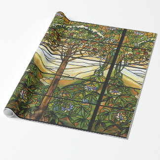 Vintage Tiffany Stained Glass Window Tree of Life Wrapping Paper