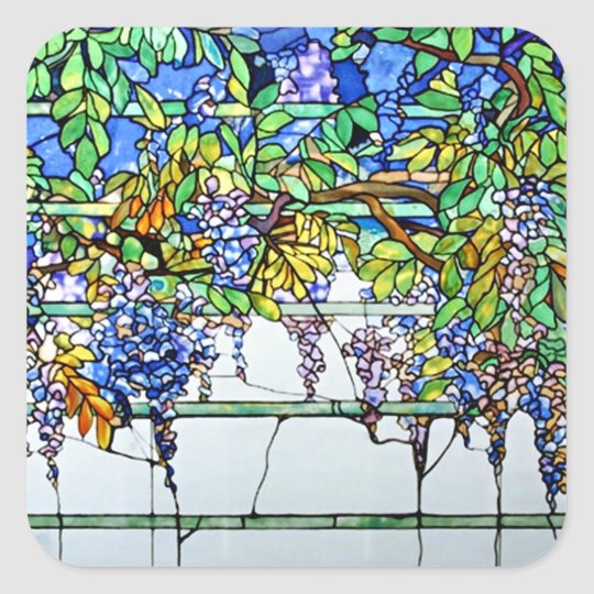 Vintage Tiffany Stained Glass Wisteria Floral Art Square