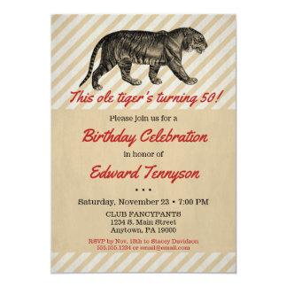 Vintage Tiger Birthday Invitation Mens Male Man