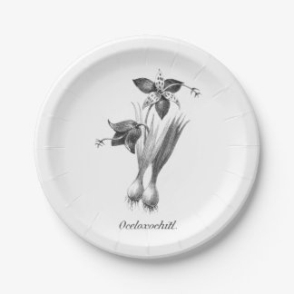 Vintage tiger flower etching paper plate 7 inch paper plate