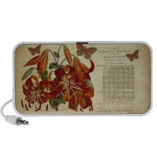 Vintage Tiger Lily Botanical Illustration iPod Speaker