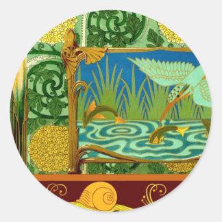 Vintage Tile Design Arts and Crafts Art Nouveau Round Sticker