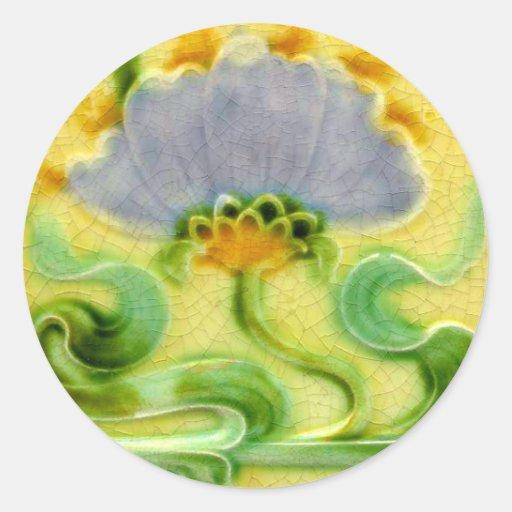 Vintage Tile Design Arts and Crafts Art Nouveau Round Stickers