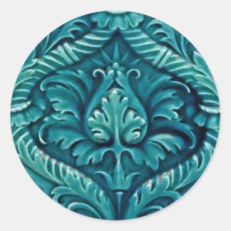 Vintage Tile Designs Arts and Crafts Art Nouveau Classic Round Sticker