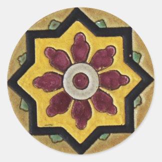 Vintage Tile Round Sticker