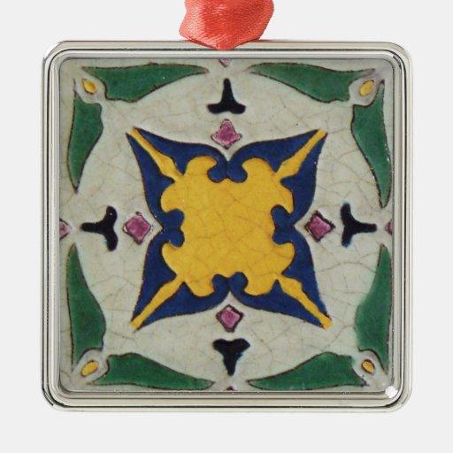 Vintage Tile Square Metal Christmas Ornament