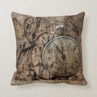 Vintage Time Rustic Style Throw Pillow